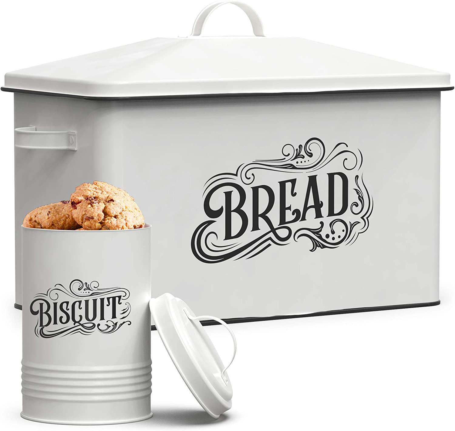 Amazon Com Farmhouse Bread Box Xl Size Bread Storage Container With Matching Biscuit Tin In White Metal Bread Boxes For Kitchen Counter Extra Large Retro Design Kitchen Dining