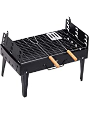 Outsunny Folding Table Top Charcoal Grill Portable BBQ Grill Camping Picnic Cooker Outdoor Easy Carrying Barbecue Smoker w/Tools