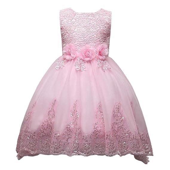 5b692494670f9 Happy Cherry Filles Enfants Robe d honneur Floral en lace et Tulle - Robe  Pailleté