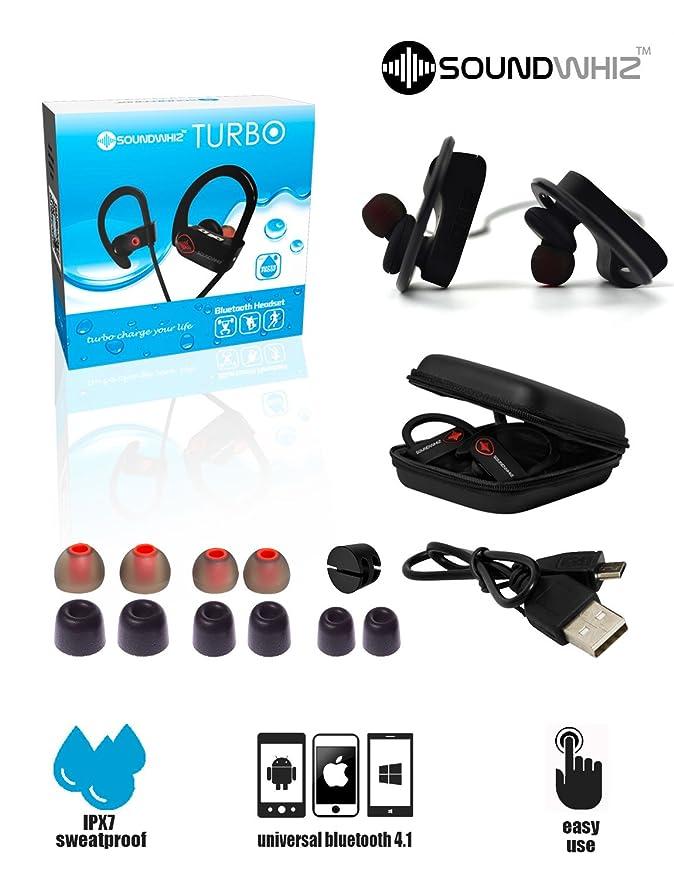 soundwhiz deportes inalámbrica Bluetooth auriculares - auriculares w/micrófono, IPX7 resistente al agua, HD estéreo Sweatproof auriculares, ...