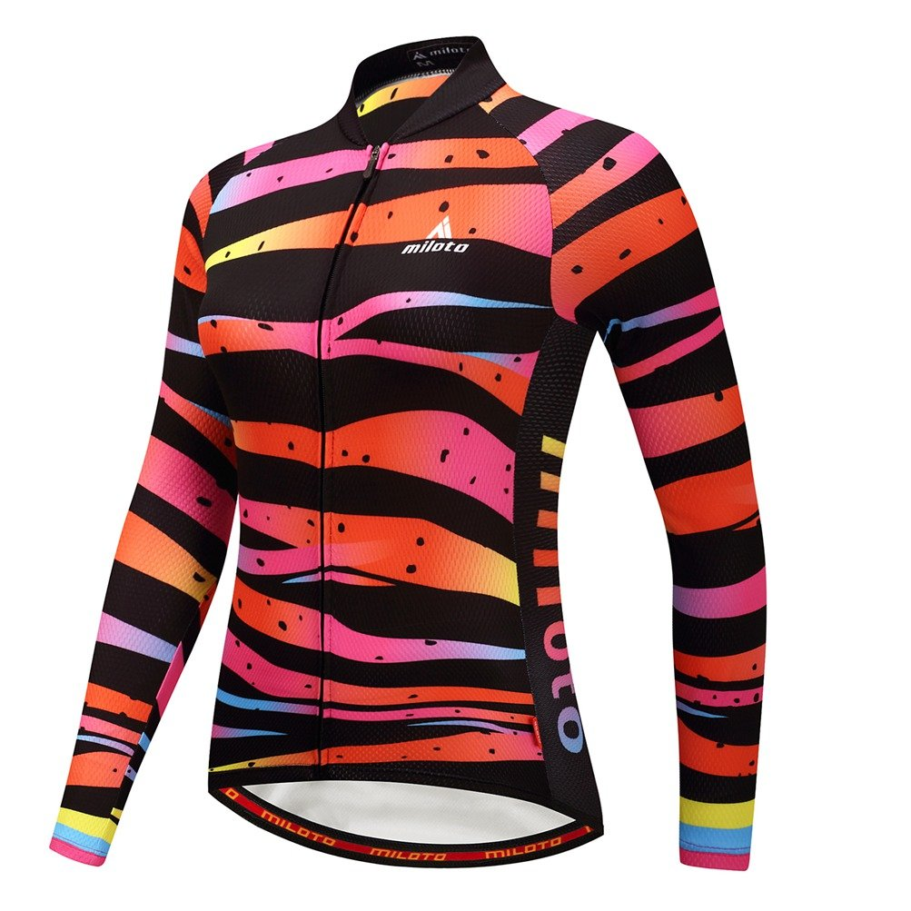 Uriah Women 's Cycling Jersey熱フリース長袖Reflective B076GXW39Q Chest 33.8''=Tag S|Zebra Lines Zebra Lines Chest 33.8''=Tag S