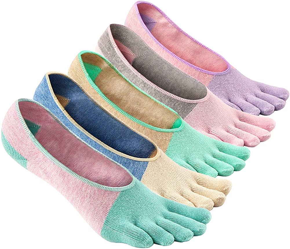 4//5 Pairs Toe Socks Womens No Show Finger Socks Invisible Non-slip Low Cut Socks with Toes Girls Liner Ankle Socks With Fingers Casual School Sneaker Socks with Gel Grips Size 4-10