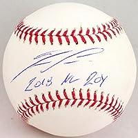 Ronald Acuna Autographed Rawlings OML Baseball w/ 2018 NL ROY - Beckett W Blue photo
