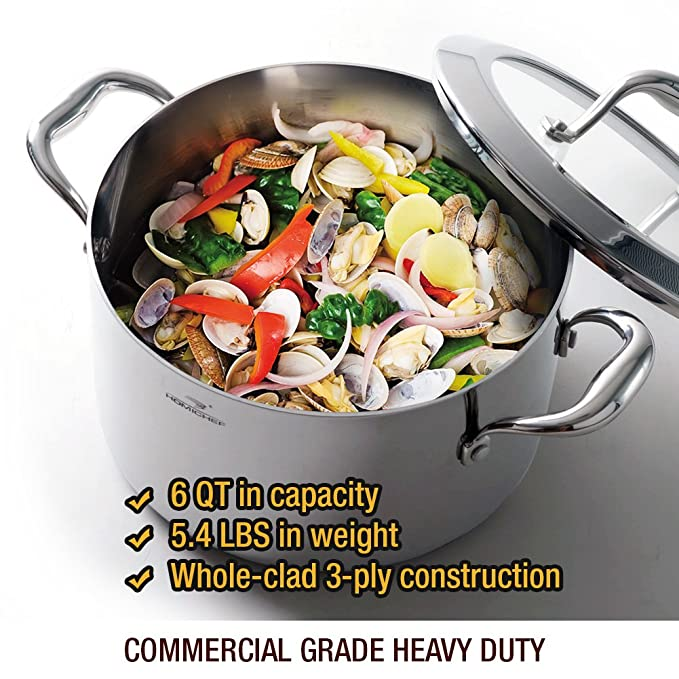 HOMI CHEF Mirror Polished Stainless Steel 6 QT Stock Pot with Glass ...