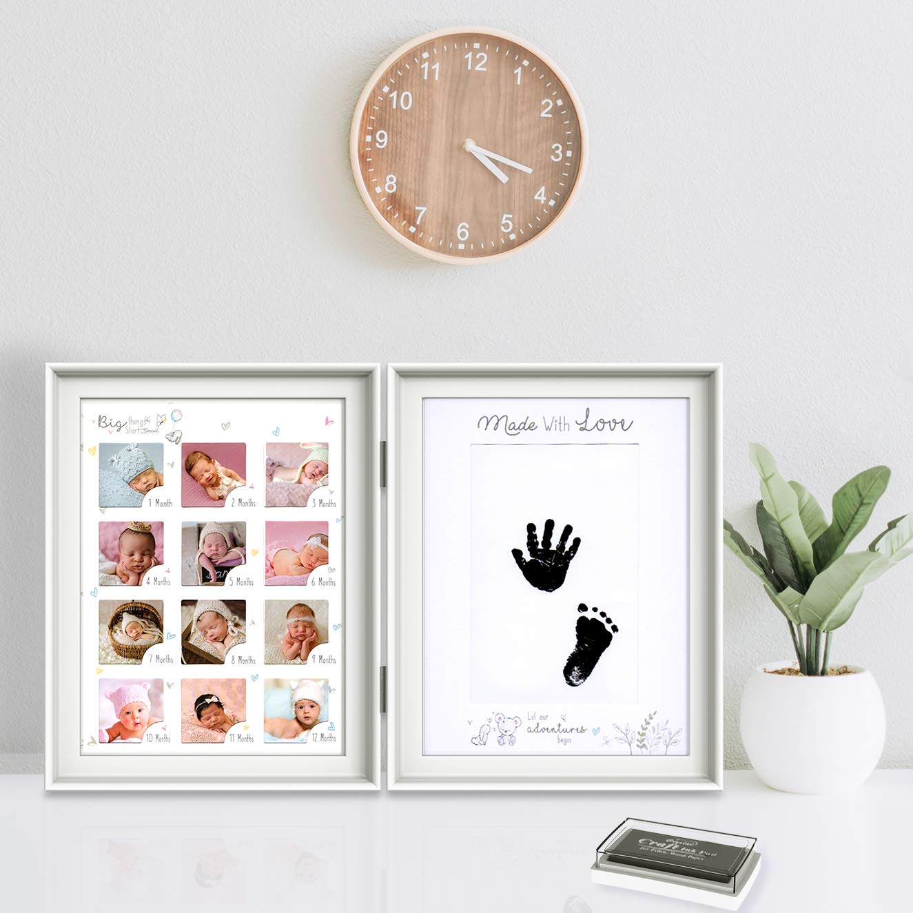 Baby Handprint and Footprint Kit Newborn Keepsake Frames Personalized Memorial Gift Keepsake for Newborn Blue