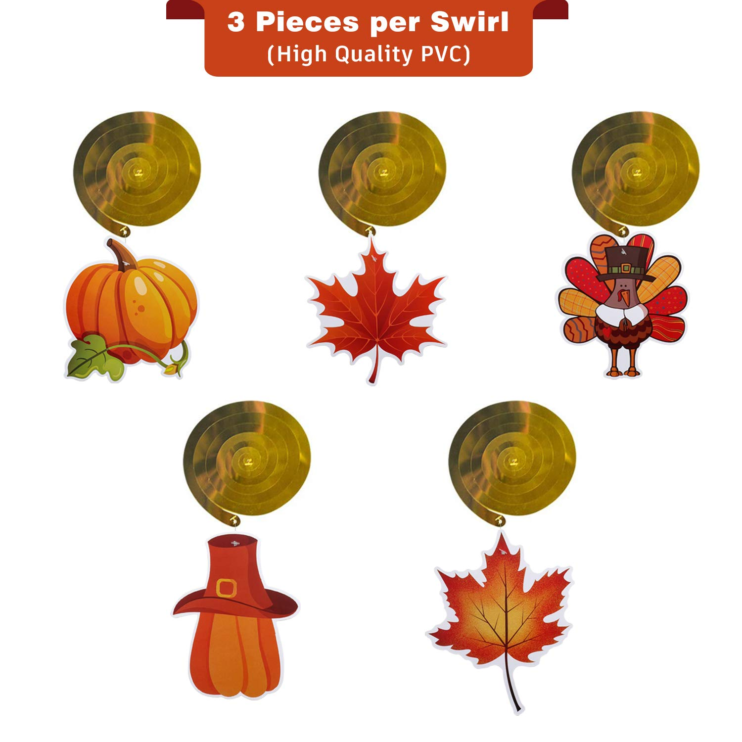 SEVENS Hanging Swirls Thanksgiving Decoration Pack of 30, Pumpkin Maple Leaf TurkeyFall Decorations Supplies for Themed Party, Ceiling, Office, Outdoor Garden