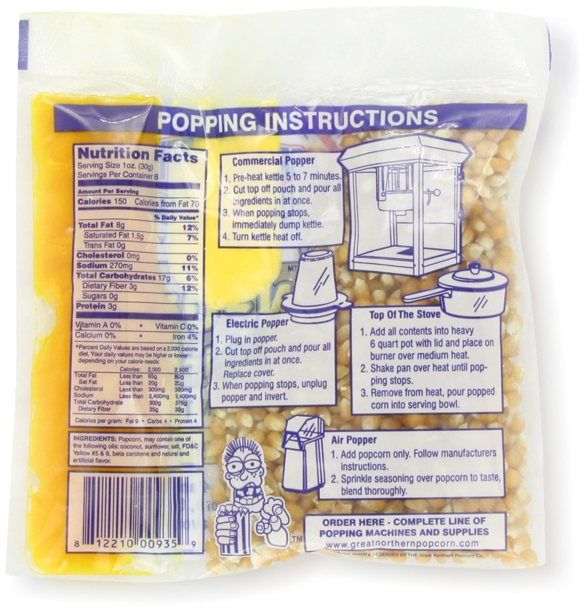 4105 Great Northern Popcorn Premium 6 Ounce Popcorn Portion Packs, CASE OF 24 by Great Northern Popcorn Company (Image #3)