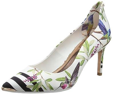 Ted Baker Women's Hallden Closed Toe Ballet Flats, White (Highgrove Hummingbird #Ffffff)