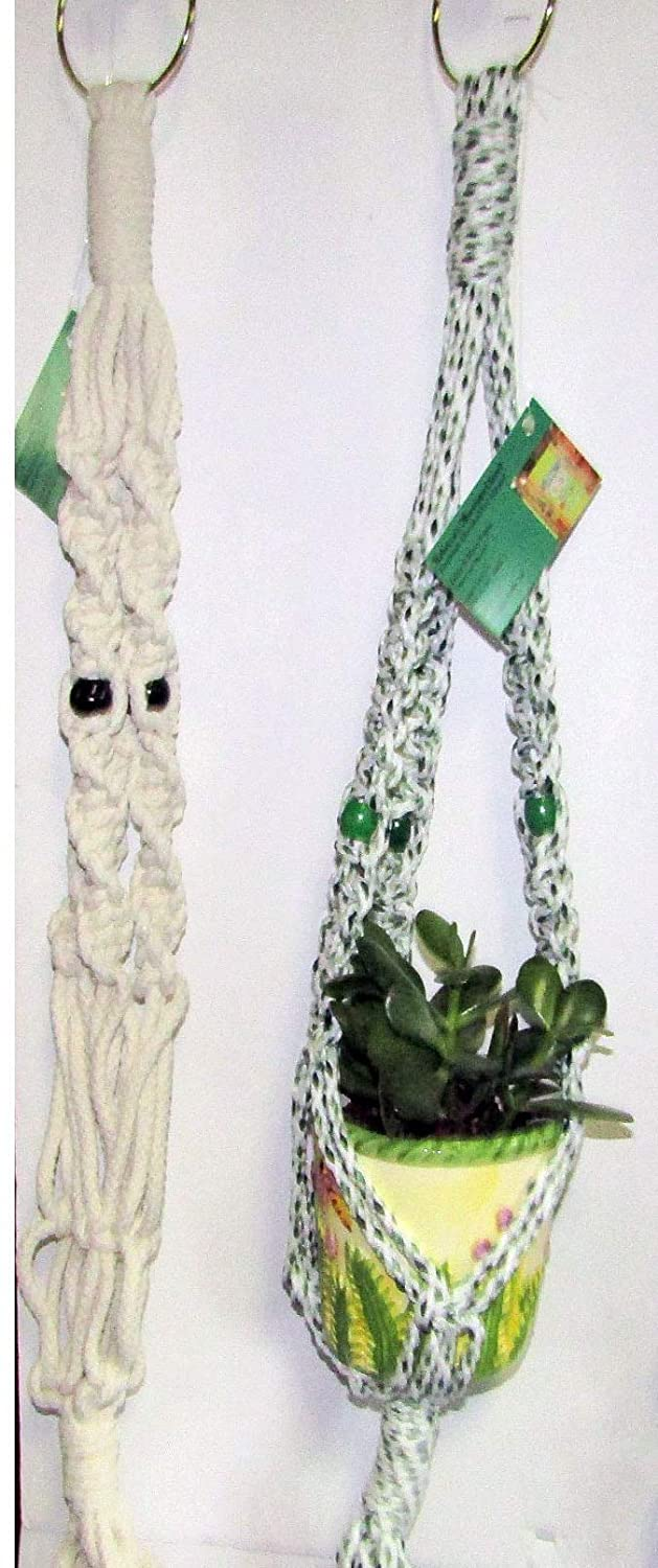 Seasonal Closeout Multi-color Twin-Pack Three Branch Macrame Plant Hangers for Small//Medium Size Plants