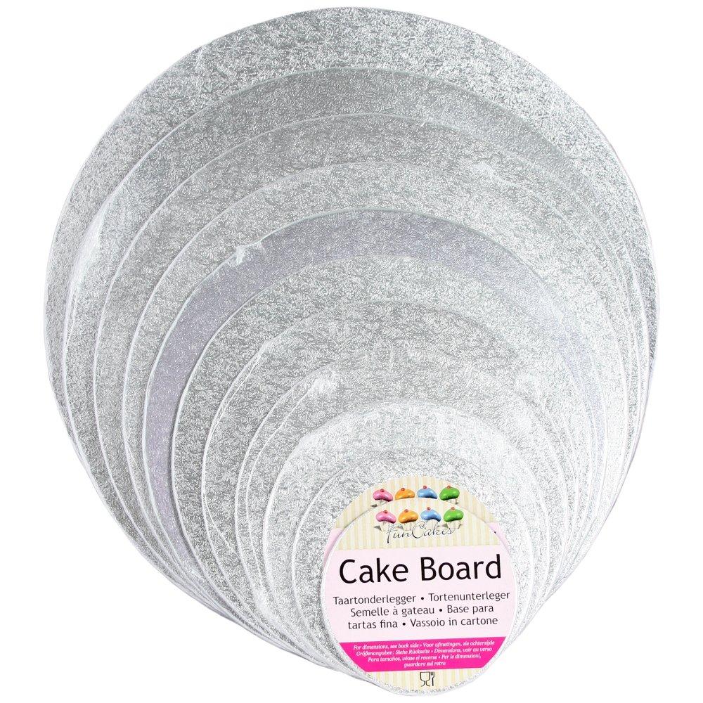 Colore: Argento FunCakes 35 Spessore 4 mm Cake Card Rotonda
