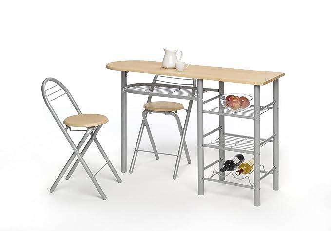 Mesa cocina barra para cocina con taburetes , color madera natural ...
