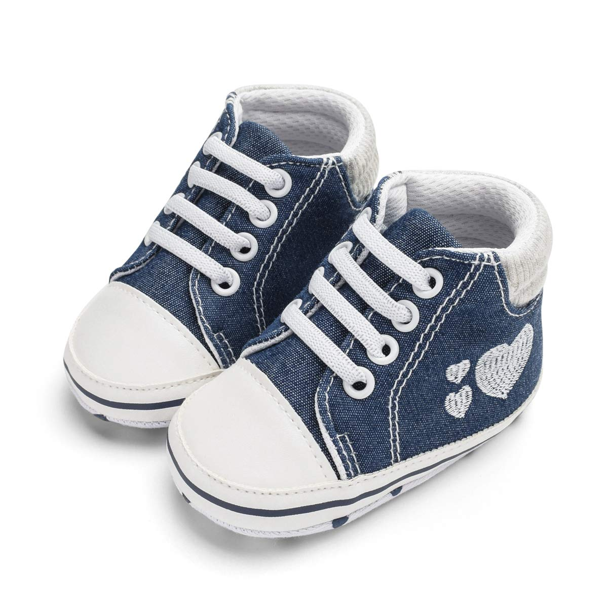 Unisex Baby Boys Girls Soft Anti-Slip Sole Sneakers Newborn Infant First Walkers Canvas Denim Shoes,