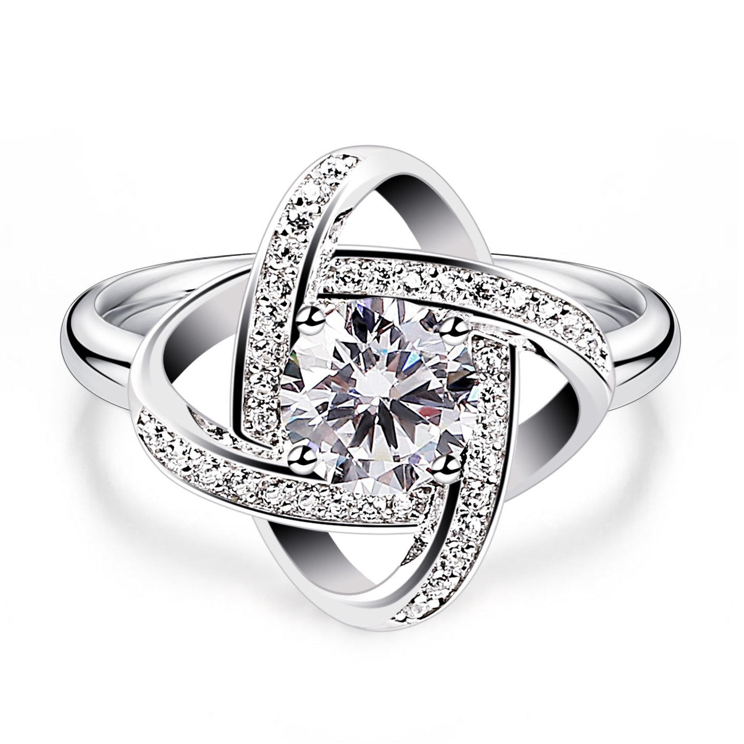 B.Catcher Women's Ring Adjustable 925 Sterling Silver Cubic Zirconia Valentine's Gift for Her