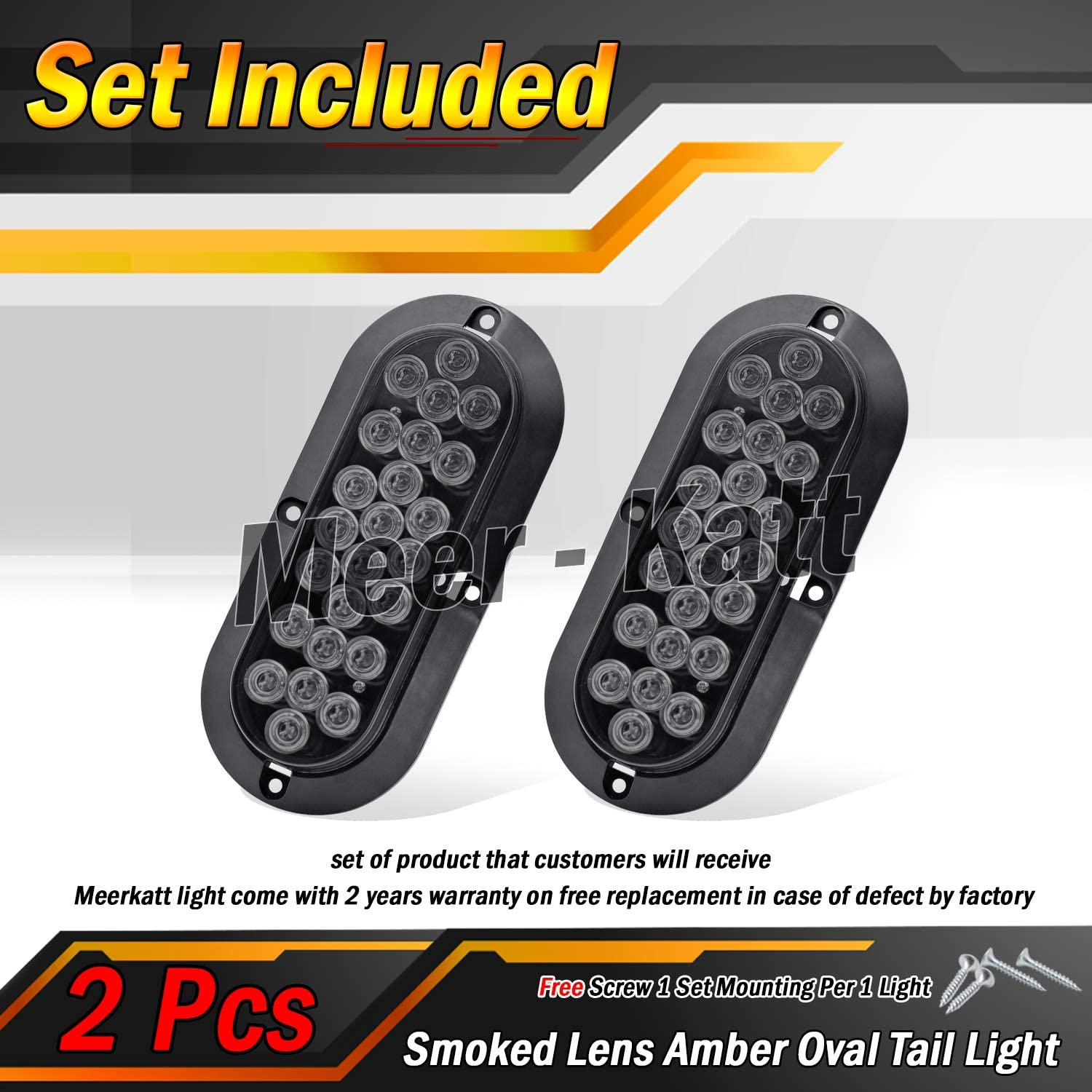 6 Inch Oval Smoked Lens 4 Red Pack of 6 Meerkatt 2 White LED Trailer Marker Tail Light Utility Bulb Exterior Brake Turn Rear Lamp Cabin Car Lorry Pickup Tow Jeep Camper Truck 12V DC Universal DK12