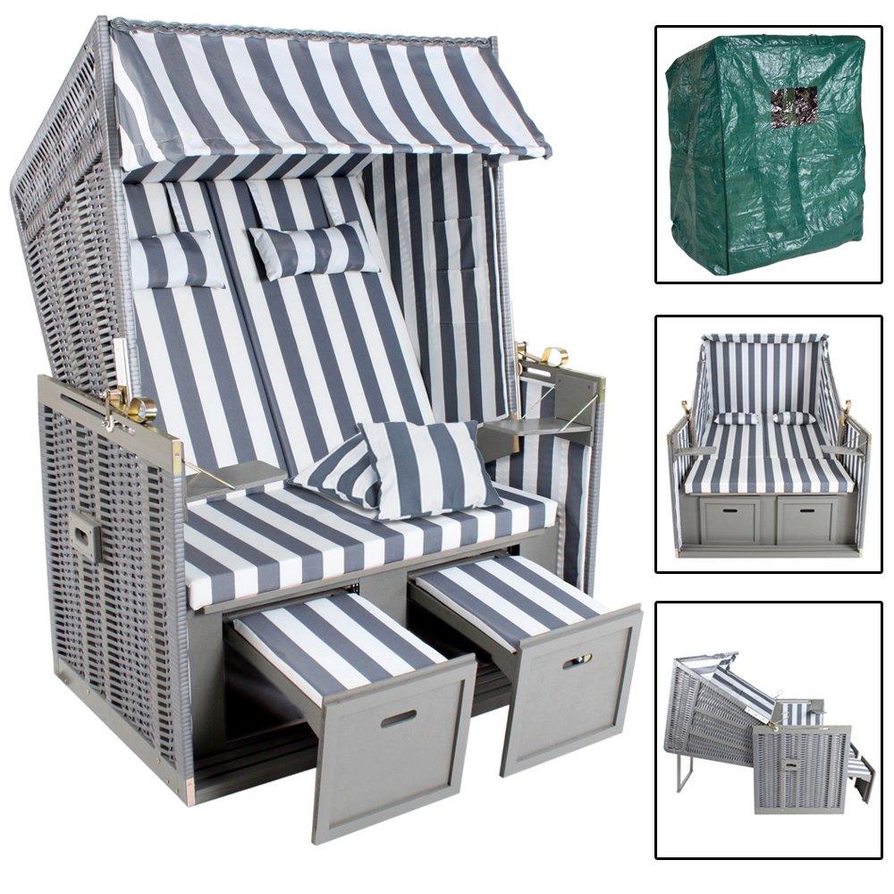 TecTake® Zweisitzer Strandkorb + Premium Schutzhülle + 2 extra Kissen + versandkostenfrei (innerhalb von Deutschland)