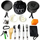 Gold Armour 10-17Pcs Camping Cookware Mess Kit Backpacking Gear & Hiking Outdoors Bug Out Bag Cooking Equipment Cookset…