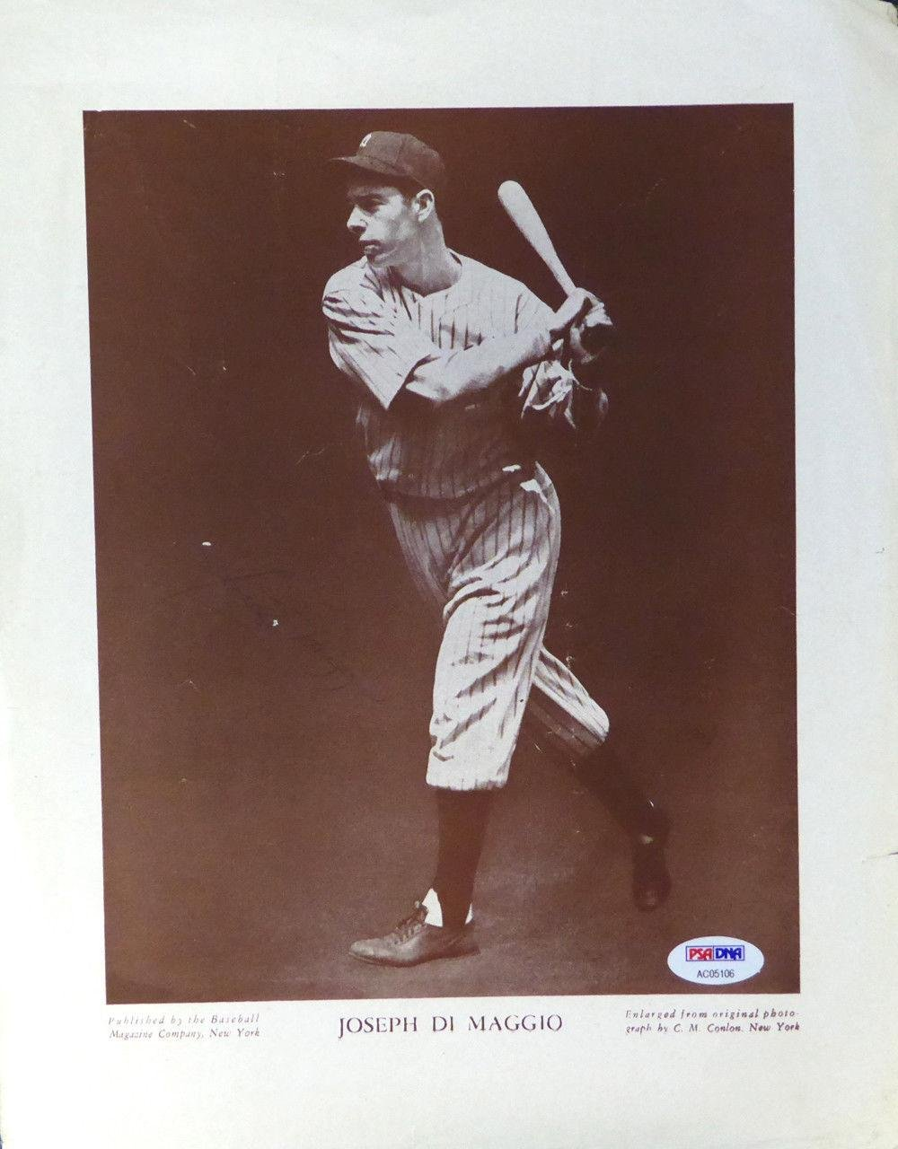 Joe DiMaggio Autographed Signed M114 Baseball Magazine Page Photo 118710 PSA/DNA Certified Autographed MLB Magazines