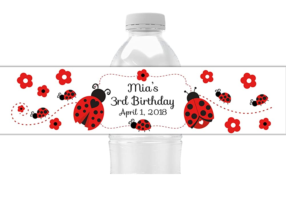 Beverage Bar Kit Ladybug Party 34 Pieces Mini Wine Bottle Labels Happy Little Ladybug Wine Bottle Labels and Water Bottle Labels