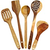 R Crafts Handmade Wooden Non-Stick Serving and Cooking Spoon Kitchen Tools Utensil, Set of 5