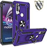 Moto One Action Case, Moto P40 Power Case with HD Screen Protector, Gritup 360 Degree Rotating Metal Ring Holder Kickstand Armor Anti-Scratch Bracket Cover Phone Case for Motorola One Action Purple