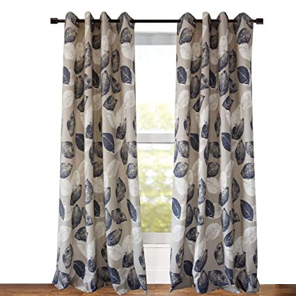 navy and white drapes grey blackout lined curtains navy blue leaf drapes anady grommet panel design window morden amazoncom