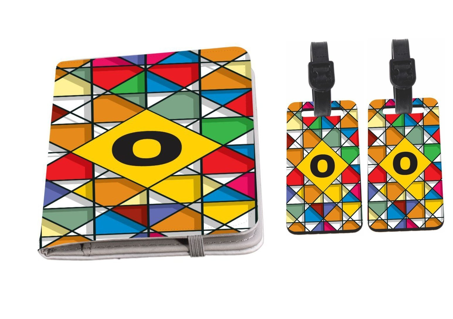 Rikki Knight Letter O Monogram Vibrant Colors Stained Glass Design Passport Holder with slots for Travel documents with 2 matching (1-sided) Luggage Identifier Tags by Rikki Knight