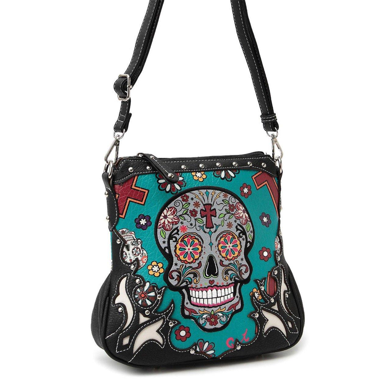 Western Sugar Skull Mini Handbag Girl Crossbody Purse Fashion Single Shoulder Bag Phone Purses (Turquoise) by WESTERN ORIGIN (Image #2)