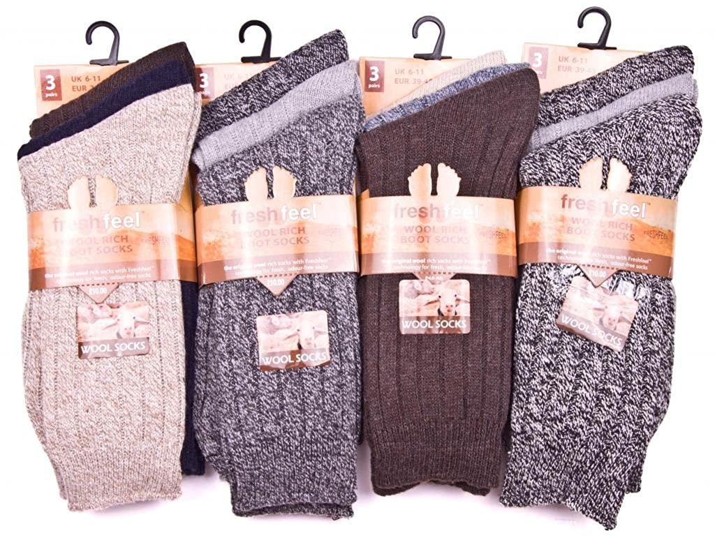 12pairs Mens Wool Blend Outdoor Thermal Hike Walking Boot Work Socks UK Shoe Size 6-11