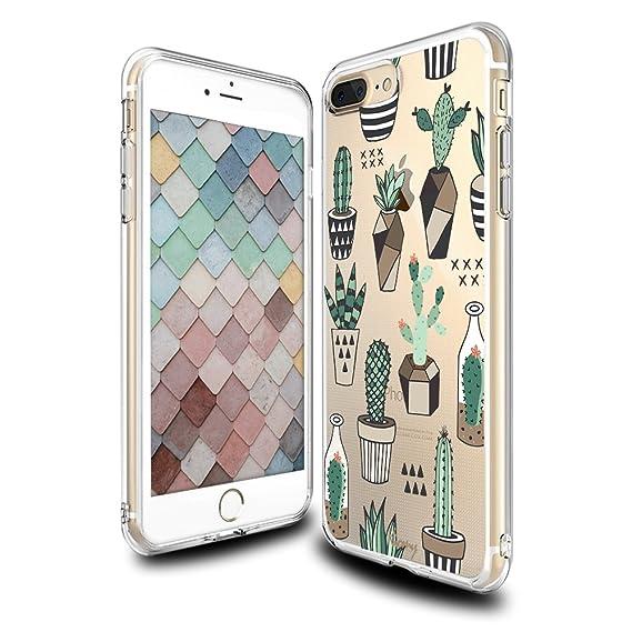 amazon com iphone 7 plus case cactus pattern, clear with design