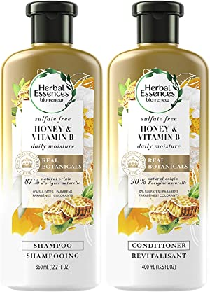 Herbal Essences, Sulfate Free Shampoo and Conditioner Kit With Natural Source Ingredients, BioRenew Honey & Vitamin B, Color Safe, 13.5 & 12.2 fl oz, Kit