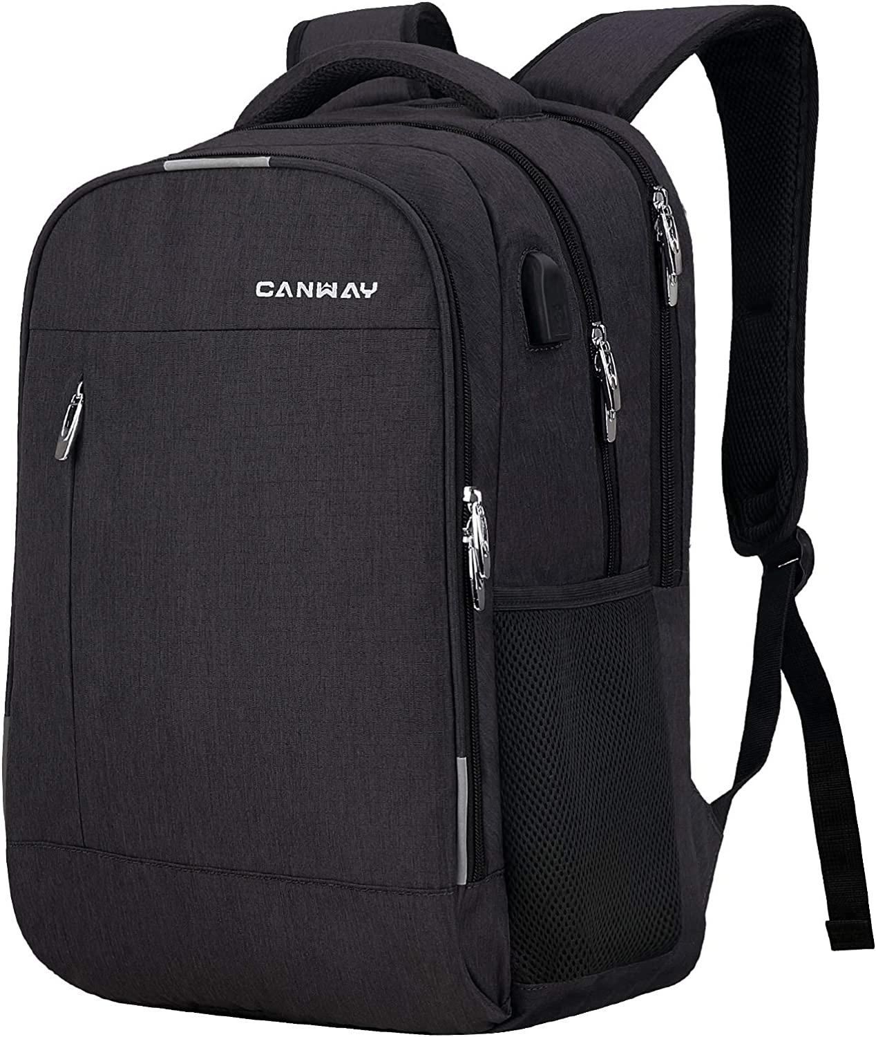 CANWAY Travel Laptop Backpack for Women/Men 15.6-Inch College School Backpack with Laptop Compartment and USB Charging Port, Anti Theft & Water Resistant Travel Business Backpack/Computer Bag - Black
