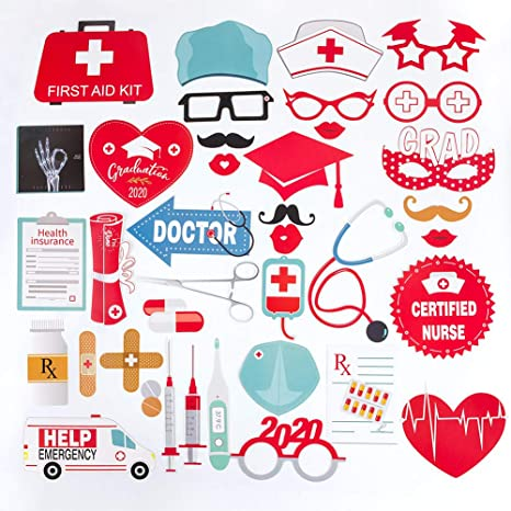 Themed Graduation Photo Booth Props DIY Kits Set Of 40 Doctor Nurse Decorations