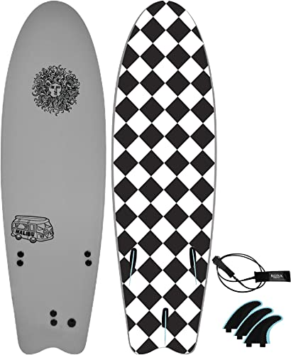 Beginners Surfboard for Adults and Kids + Fins and Leash [Kona Surf Co.] Picture