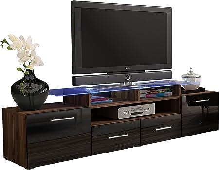 JUSTyou Evoro Mueble para TV Mesa televisión salón 194 cm Color: Ciruelo Negro: Amazon.es: Hogar