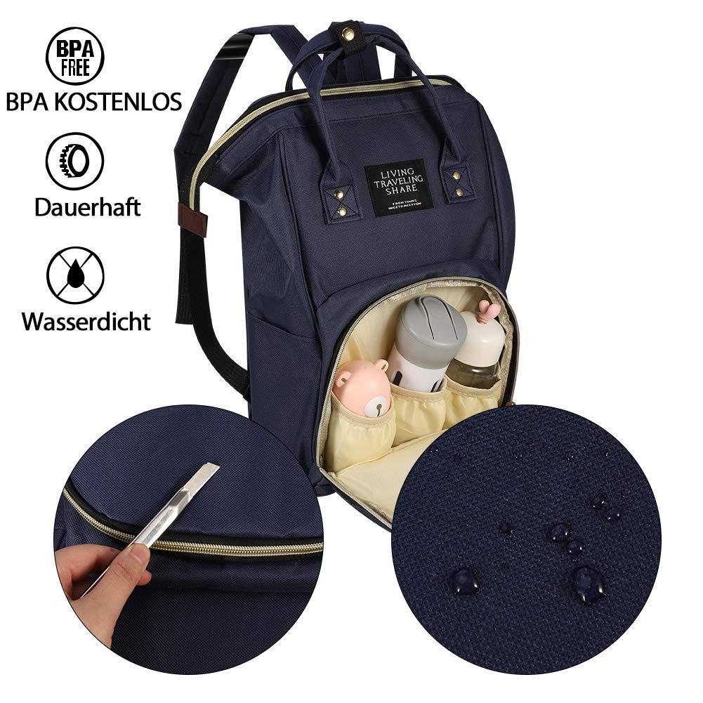 Blau SUI-lim Baby Wickelrucksack Wickeltasche Gro/ß mit Kinderwagenhaken Multifunktionale Babytasche mit Gro/ßer Kapazit/ät Wasserabweisend viele F/ächer Reisetasche Reiserucksack