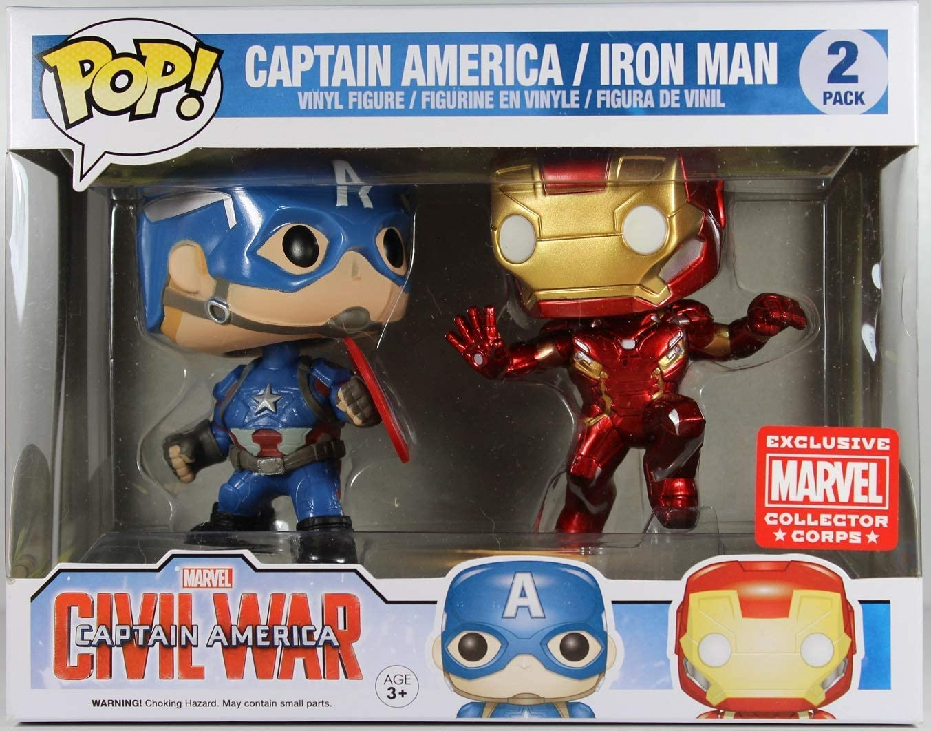 FunkoPop! Marvel: Civil War - Captain America vs. Iron Man Collectors Corps 2 Pack Vinyl Figure …: Amazon.es: Juguetes y juegos
