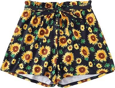 Handyulong Womens Shorts Summer Elastic Waist Active Yoga Shorts Teen Girls Casual Beach Hot Shorts Sport Short Pants