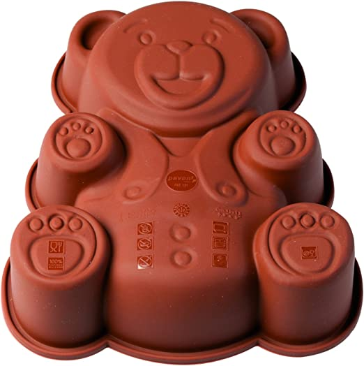 Pavoni FRT131 Platinum Silicone Orsetto-Teddy Bear Mini Cake Mould Brown