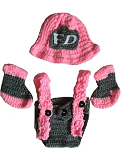 ccd084d55 Ufraky Newborn Baby Pink Crochet Knitted Firefighter Hat Suspenders Boots  Photography Photo Props