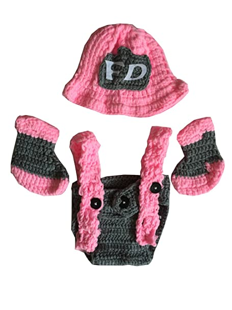 99d2b7238cd Image Unavailable. Image not available for. Color  Ufraky Newborn Baby Pink  Crochet Knitted Firefighter Hat Suspenders Boots ...
