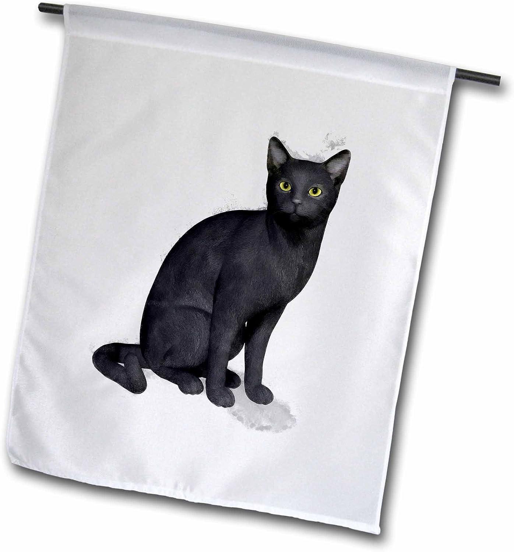 3dRose fl_38679_1 Black Cat Garden Flag, 12 by 18-Inch