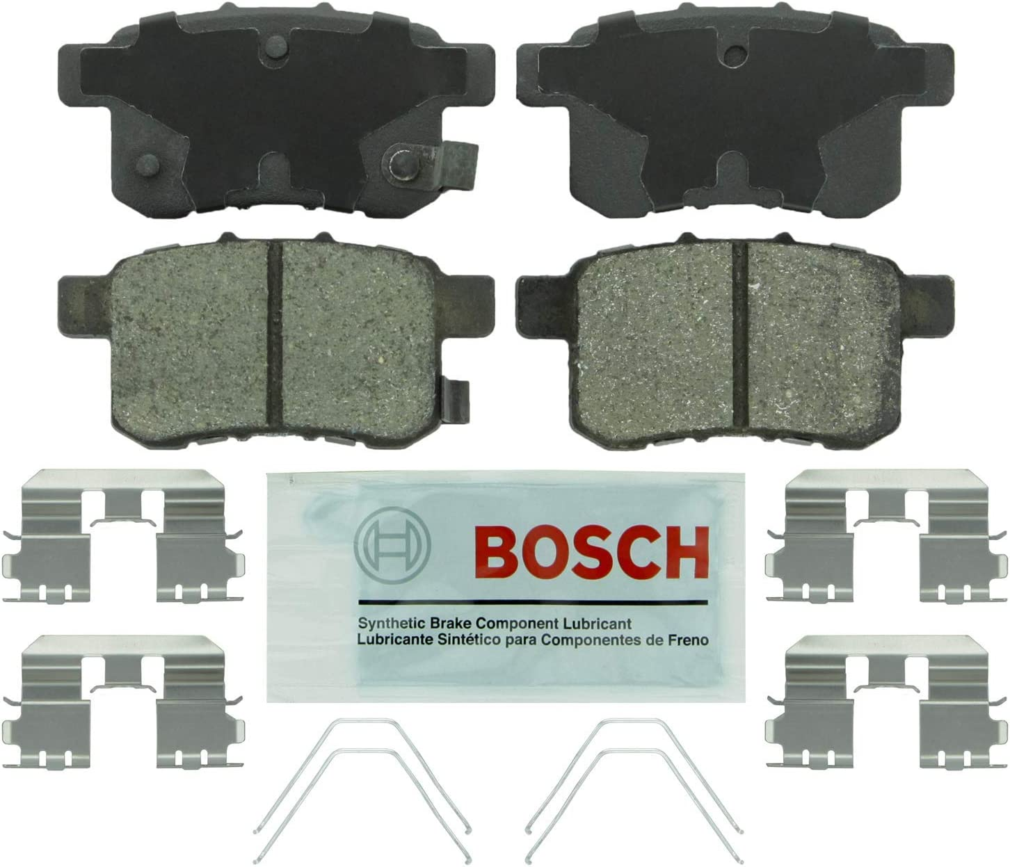 REAR Bosch BE1451H Blue Disc Brake Pad Set with Hardware for 2009-14 Acura TSX and 2008-15 Honda Accord