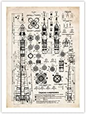 Steves Poster Store SOVIET ROCKET PLANS POSTER PRINT PARCHMENT 18X24 USSR ENERGIA N1 H1 R-7 SPACE CRAFT GIFT