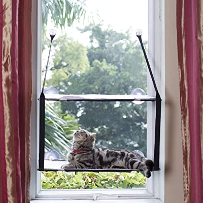 LIFIS Cat Window Perch Cat Window Bed Hammock Up to 55lb Can Be Installed on Small Window Soft Mats Stable Metal Frames Kitty Sunny Seat