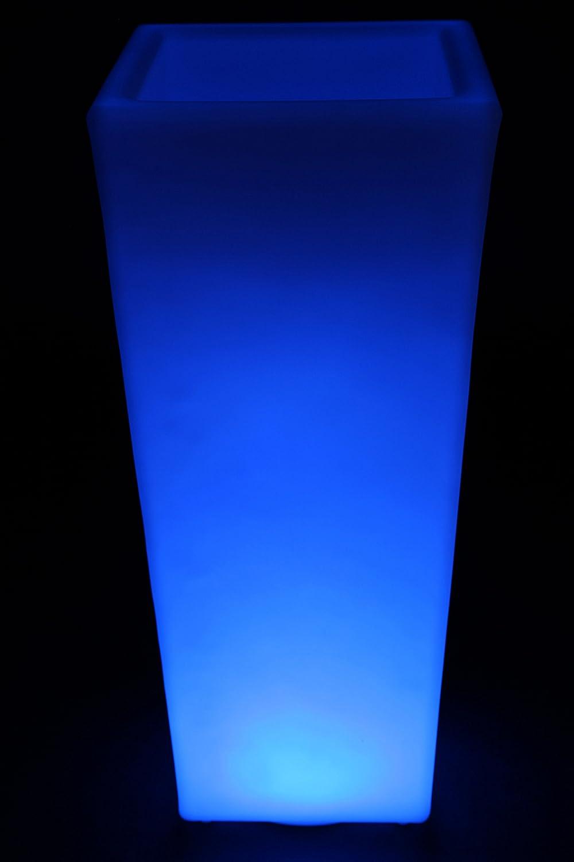 point-garden Blumenkübel LED Farbwechsel 74cm Pflanzkübel beleuchtet Lampe Akku FB