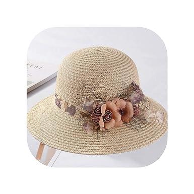 ee7dc82b05a Elegant Sun hat Summer Black Net Yarn Flower Straw Hat Women s Bucket Hat  Sun Beach Hat