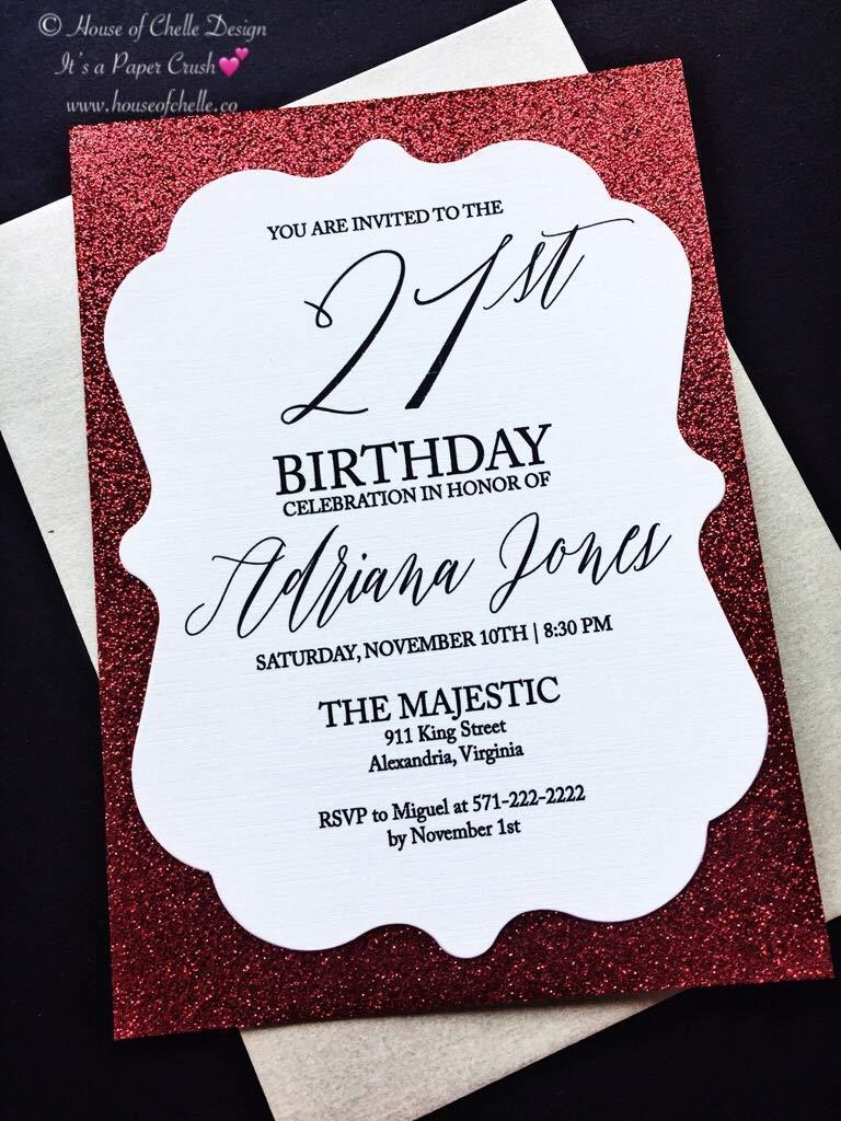 Amazon Glitter 21st Birthday Invitation Set Simple Classic Modern Elegant Calligraphy