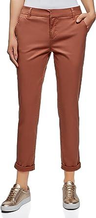 oodji Ultra Mujer Pantalones Chinos de Algodón, Rojo Marrón, ES 40 / M: Amazon.es: Ropa y accesorios