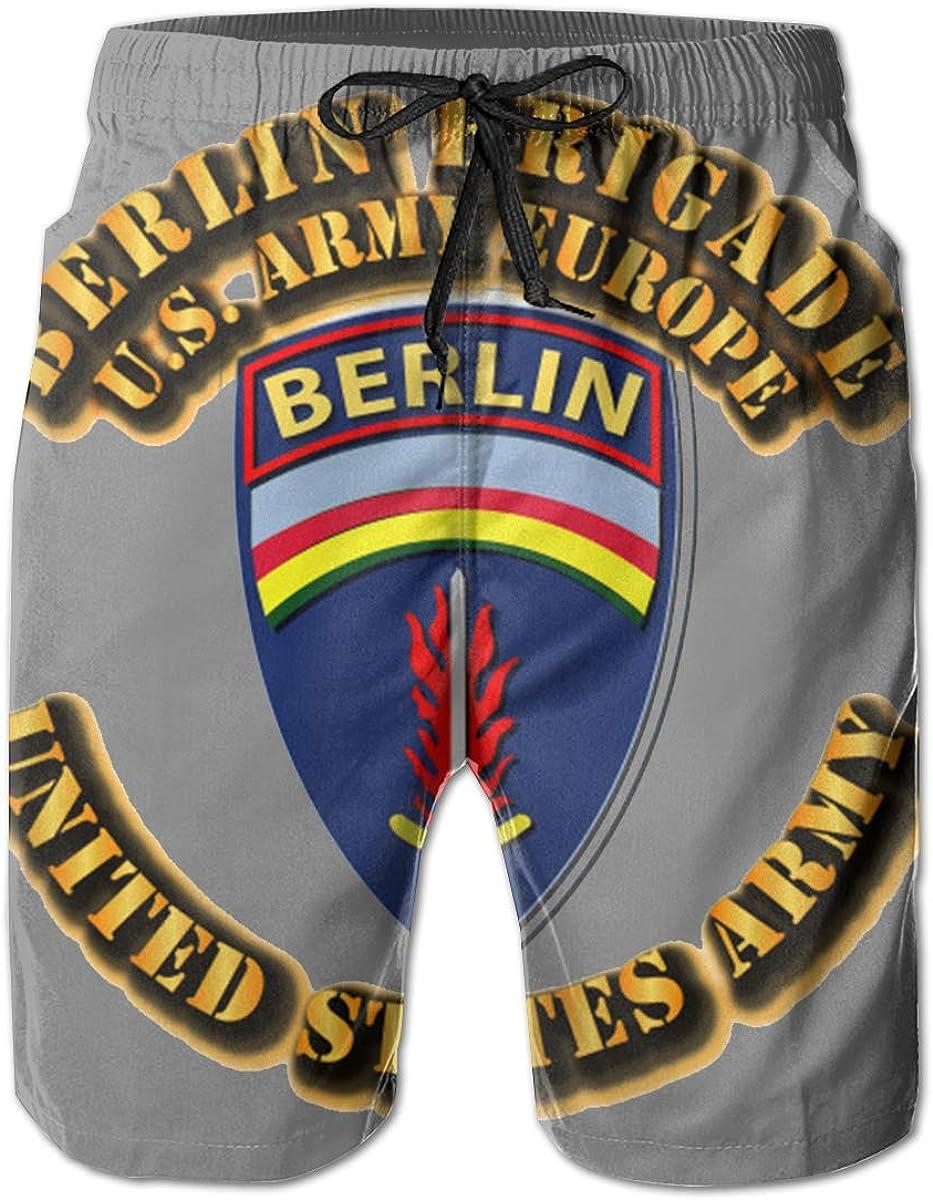 Berlin Brigade Mens Casual Classic Fit Short Summer Beach Shorts Army