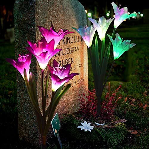 Pure Ponta Solar Flower Lights 2 Pack of Solar Stake Lights with 8 Solar Flowers Multi Color Changing LED Flower Lights Powered by Premium Solar Panels 4 White 4 Purple Solar Flowers